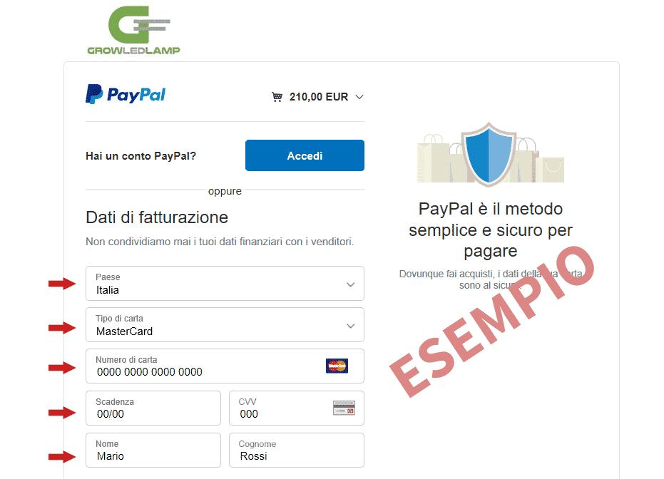 immagine pagamento paypal carte di credito