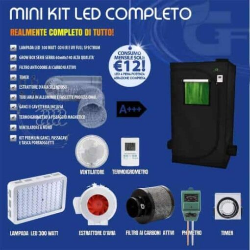 mini grow box kit completo 60x60-300 watt